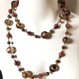 Vintage Long 40 in Brown Bead Chain Link Necklace
